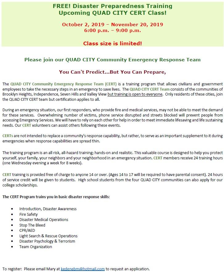 FREE Disaster Preparedness Training