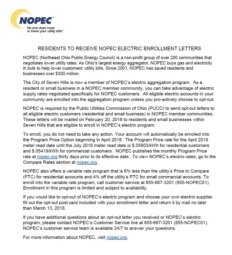 NOPEC Information for Residents
