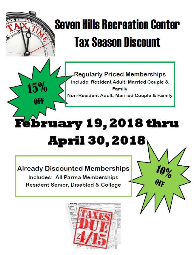 flyer with green stars stating the tax season discount