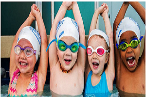 Young children swimming